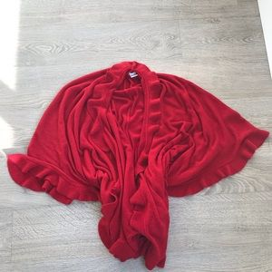 NWOT Laura Red Knitted Poncho / Cape